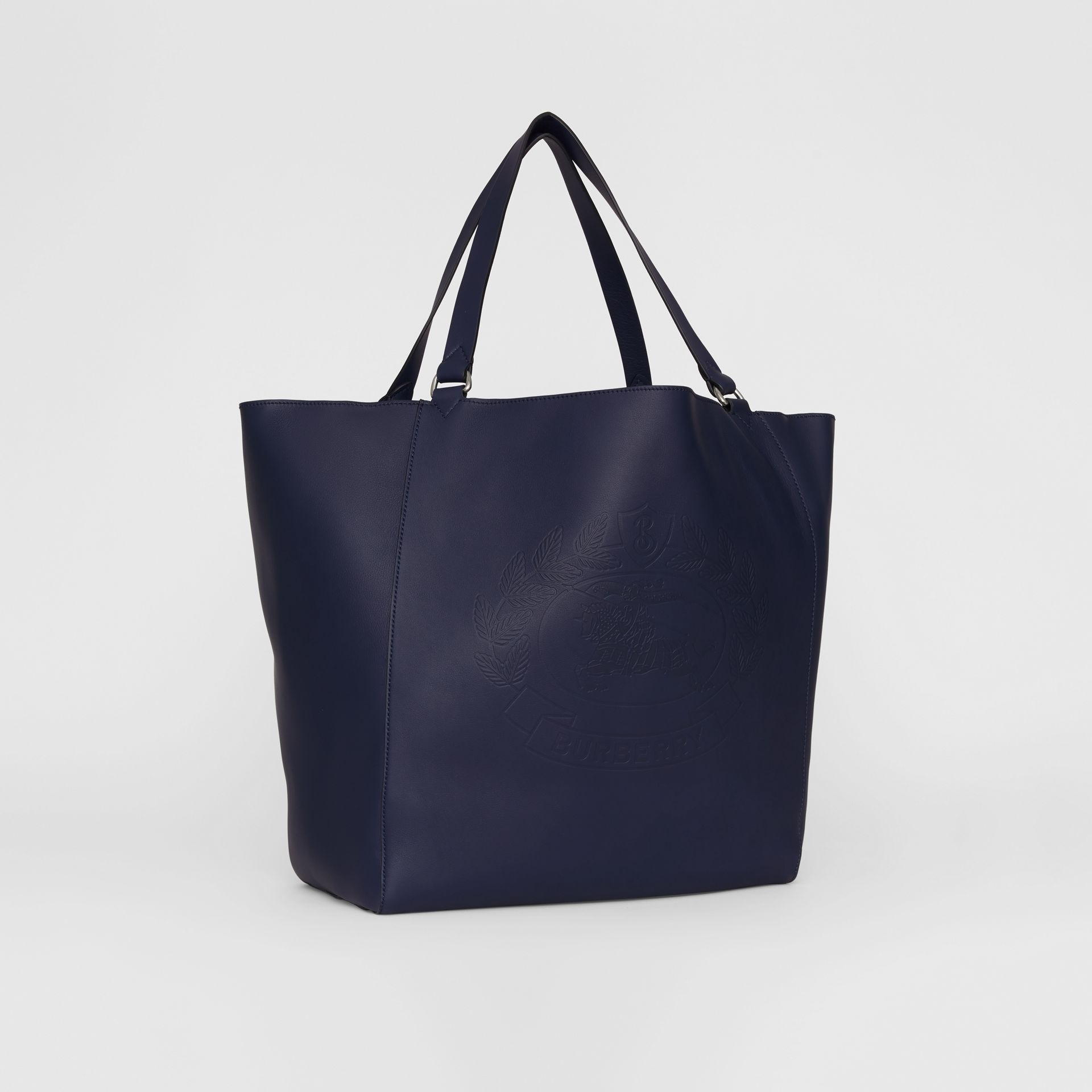 Large Embossed Crest Bonded Leather Tote in Regency Blue - Men | Burberry - gallery image 6