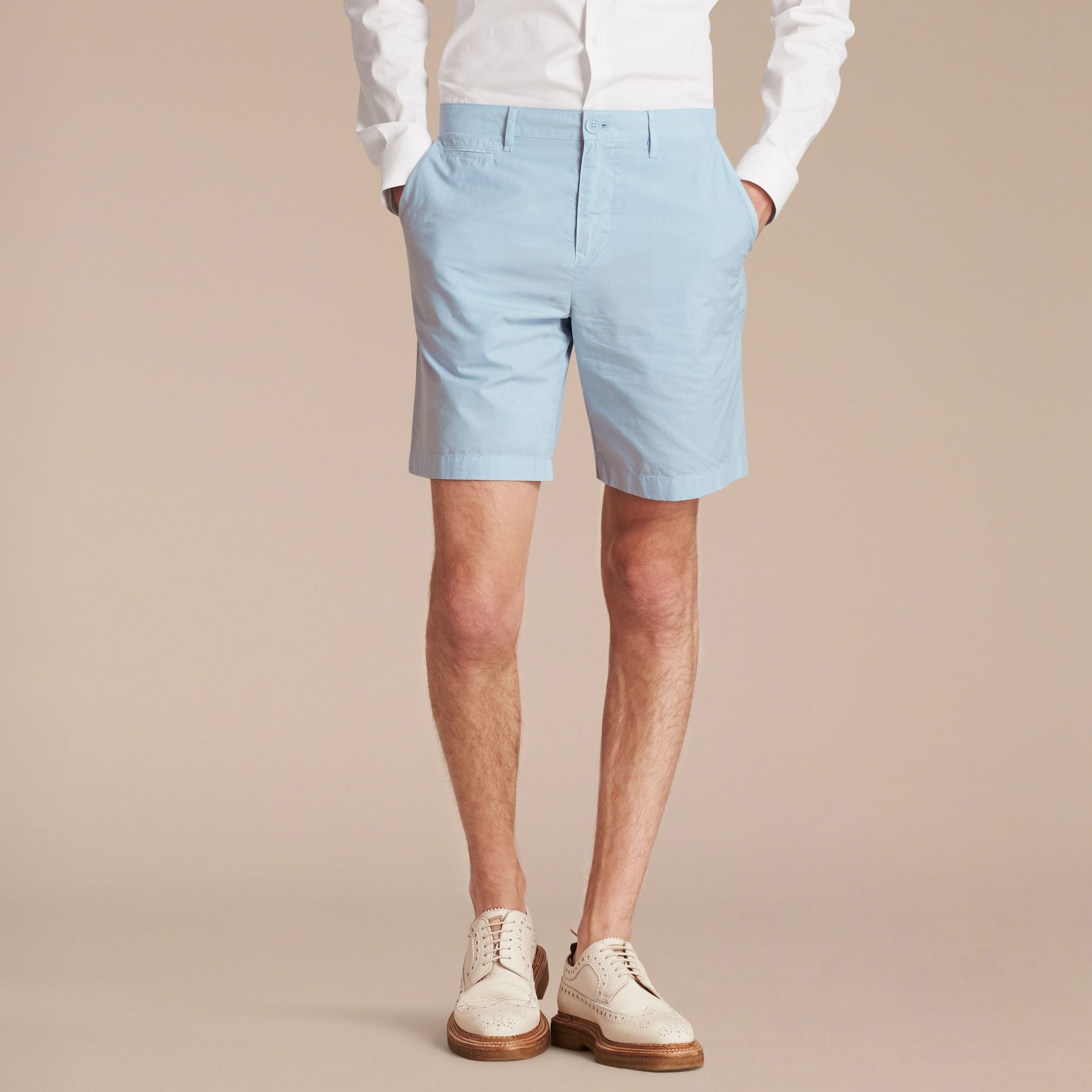 Cotton Poplin Chino Shorts Pale Opal Blue - gallery image 7
