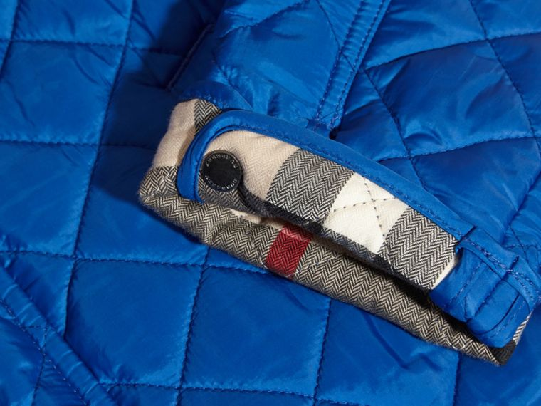 Diamond Quilted Jacket in Brilliant Blue - cell image 1