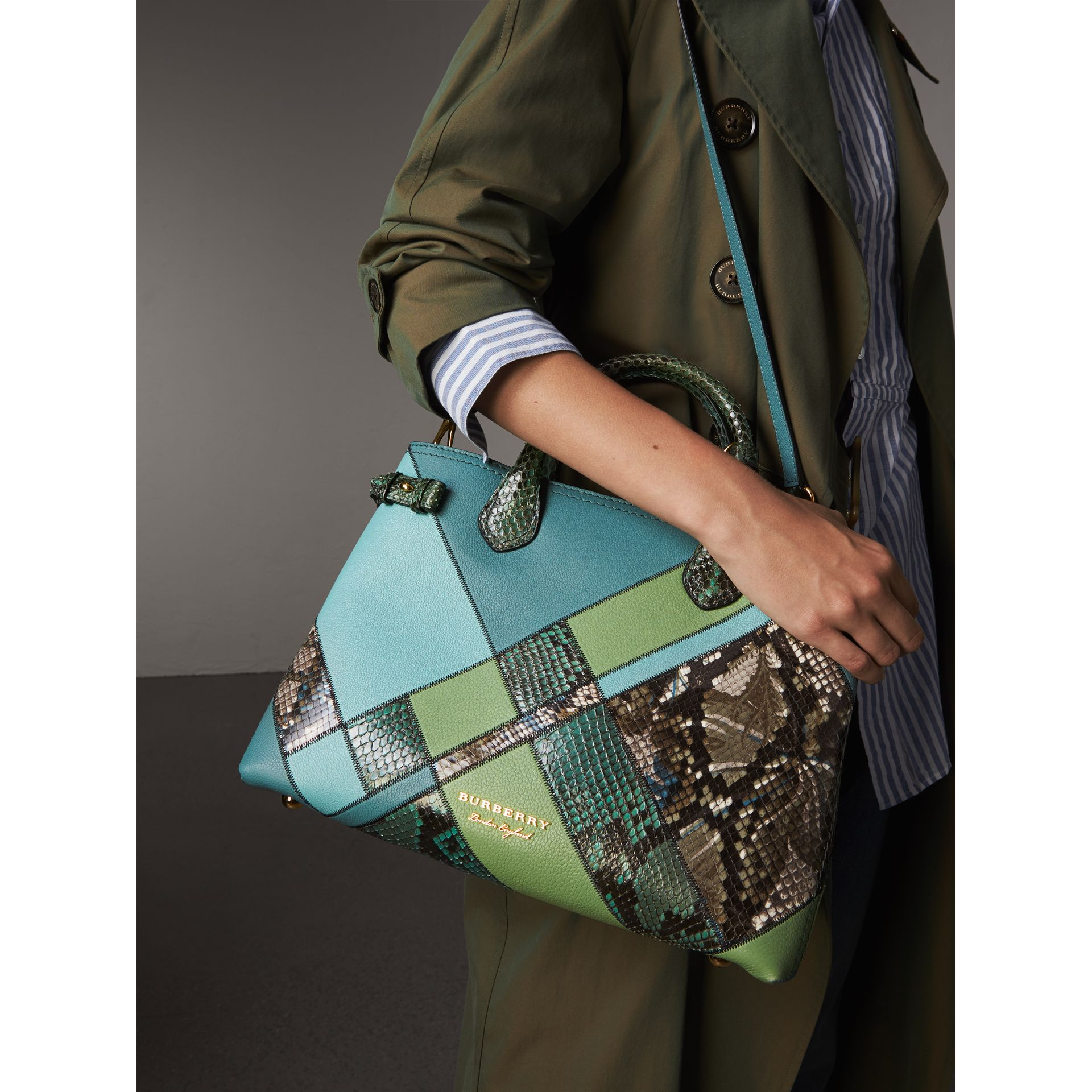 The Medium Banner in Patchwork Leather and Python in Celadon Blue - Women | Burberry - gallery image 3