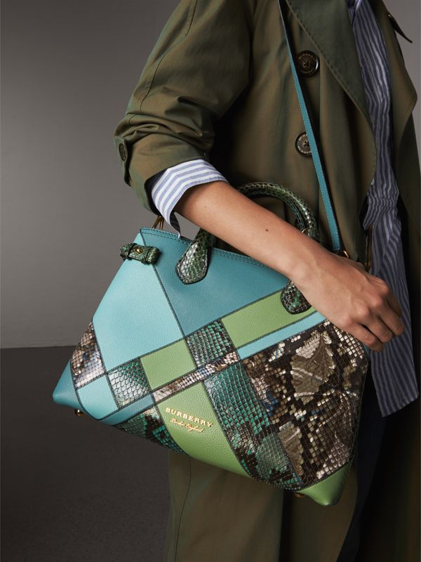 The Medium Banner in Patchwork Leather and Python in Celadon Blue - Women | Burberry - cell image 3