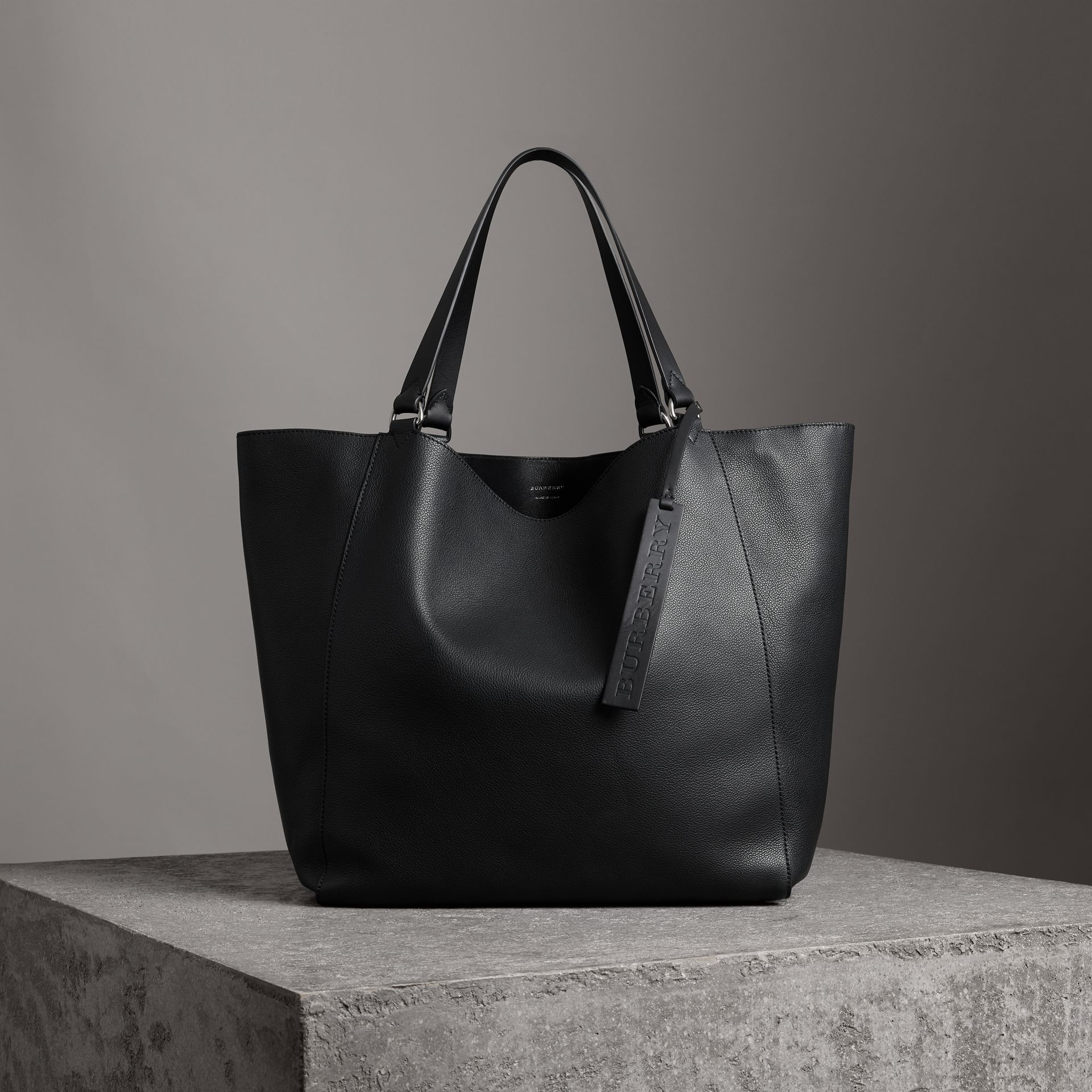 Large Bonded Leather Tote in Black | Burberry Singapore - gallery image 0