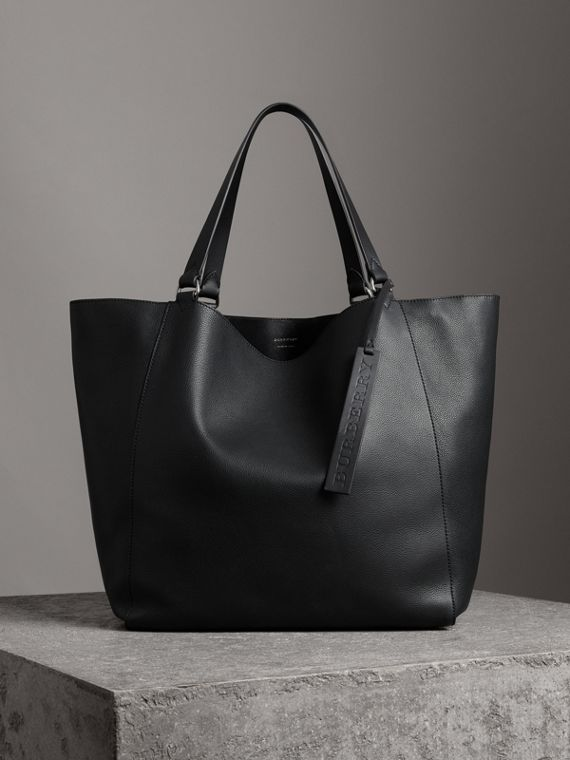 Large Bonded Leather Tote in Black