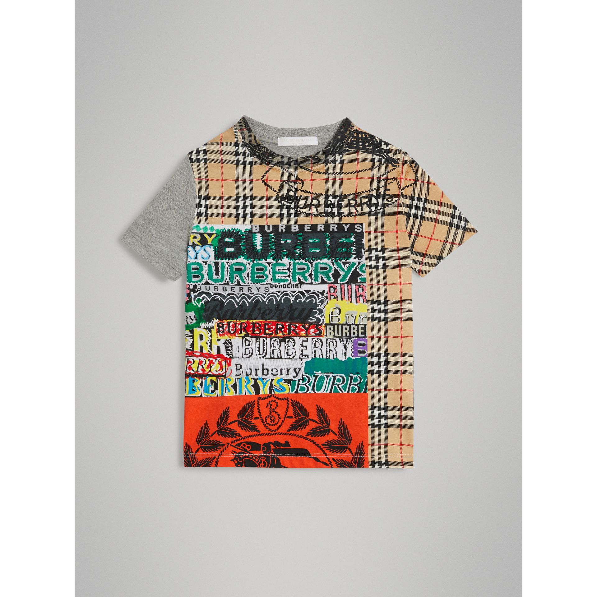 Vintage Check Logo Print Cotton T-shirt in Grey Melange - Boy | Burberry - gallery image 0