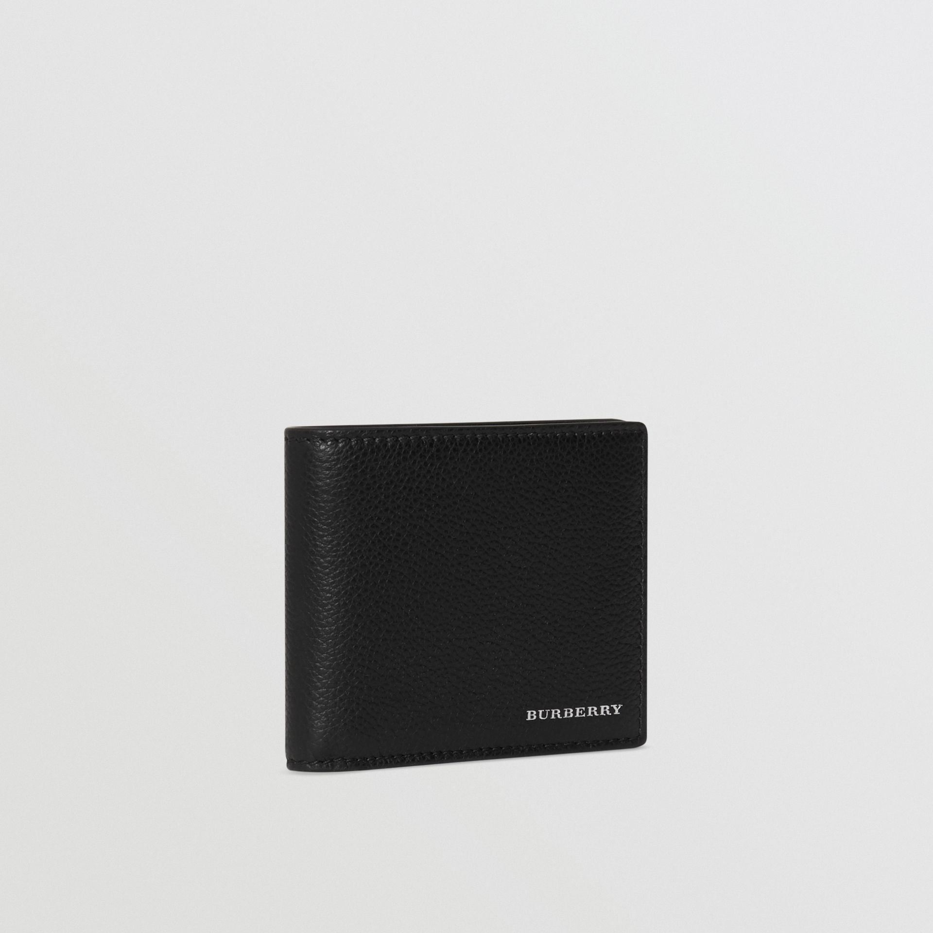 Grainy Leather Bifold Wallet in Black - Men | Burberry Australia - gallery image 3