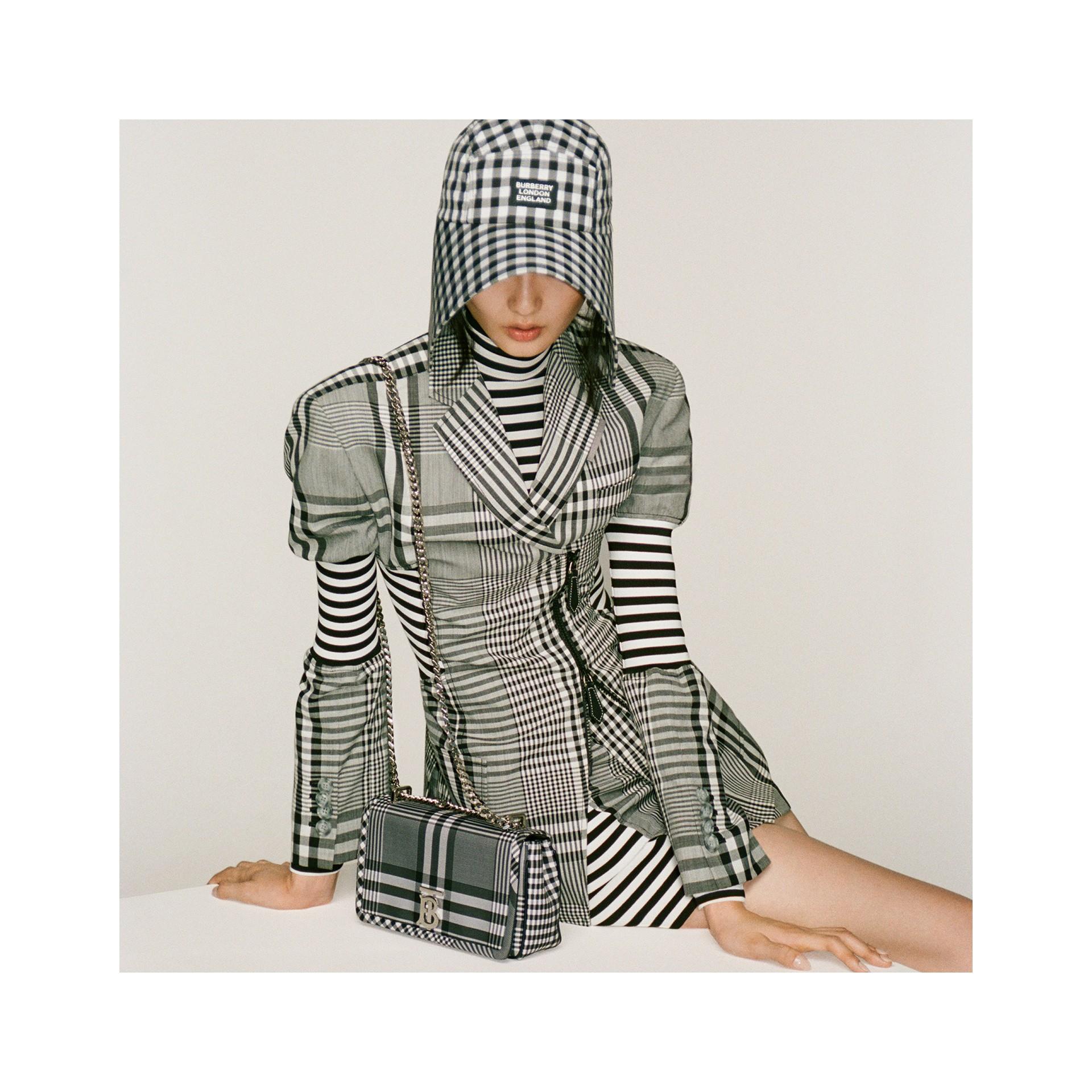 Blazer in lana tecnica con motivo tartan e dettaglio stile corsetto (Nero) - Donna | Burberry - immagine della galleria 8