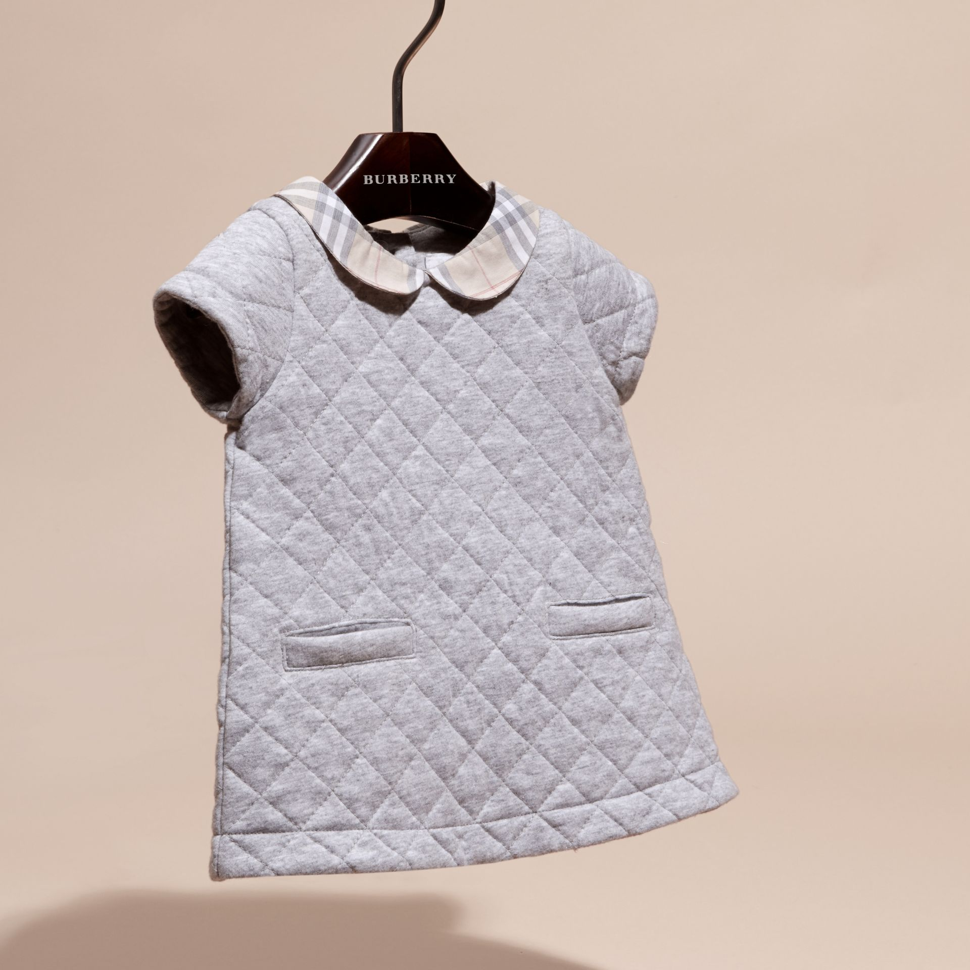 Grey melange Quilted Cotton Dress with Check Collar - gallery image 3