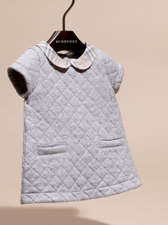 Grey melange Quilted Cotton Dress with Check Collar - cell image 2
