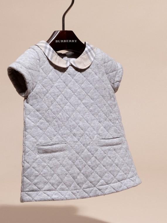 Grey melange Vestido de algodão acolchoado com colarinho xadrez - cell image 2