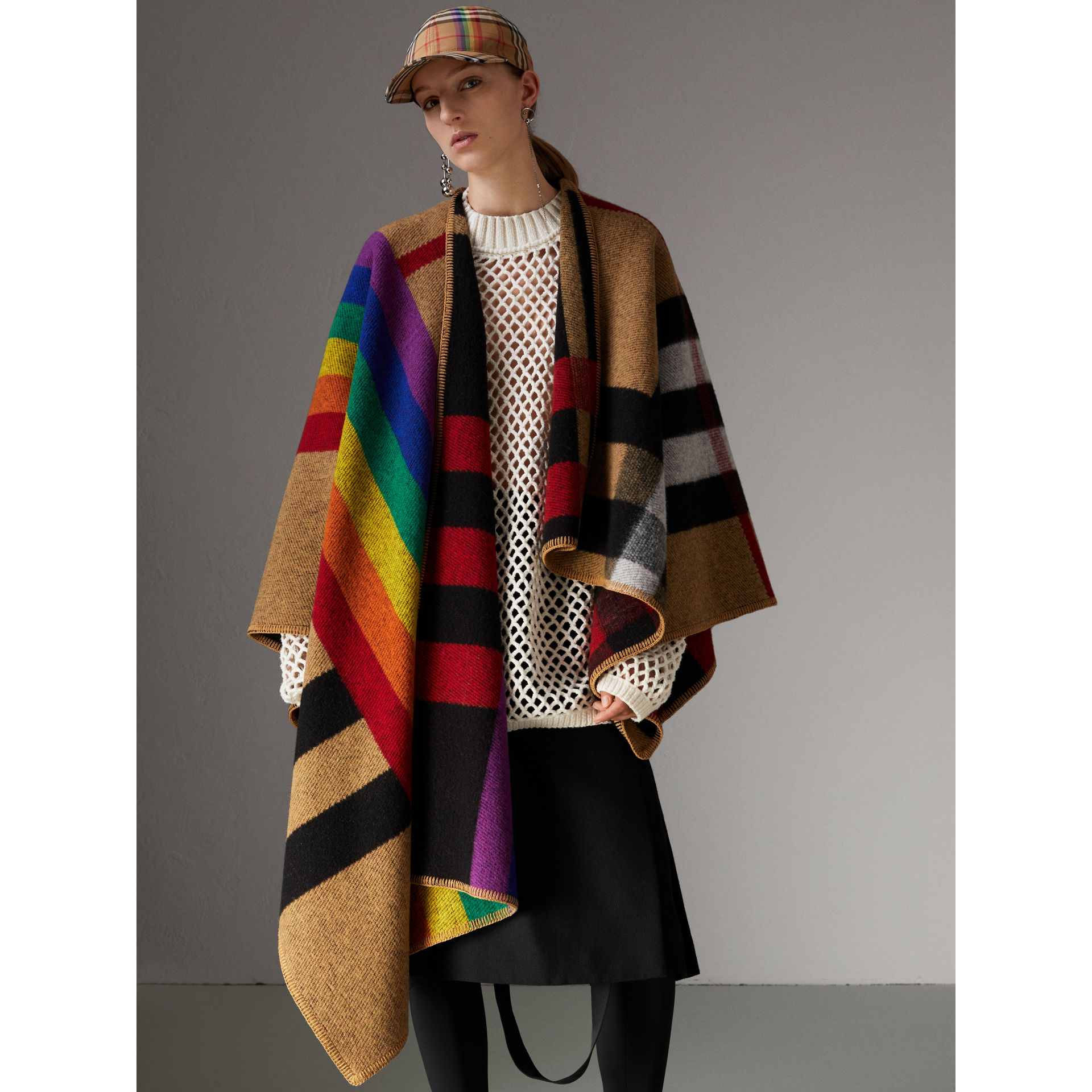 Rainbow Vintage Check Wool Cashmere Poncho in Antique Yellow/rainbow - Women | Burberry Australia - gallery image 5