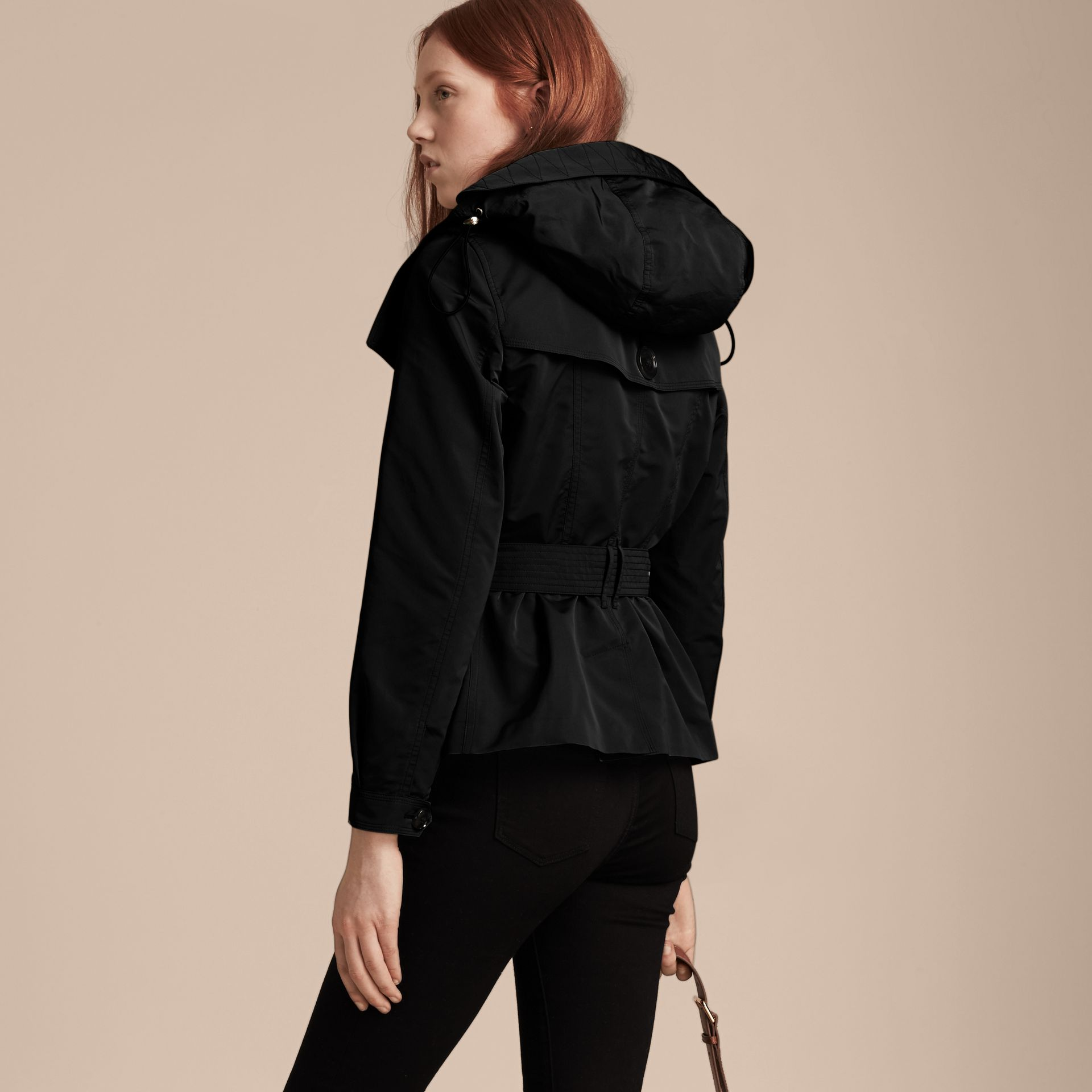 Showerproof Taffeta Trench Jacket with Detachable Hood in Black - gallery image 3