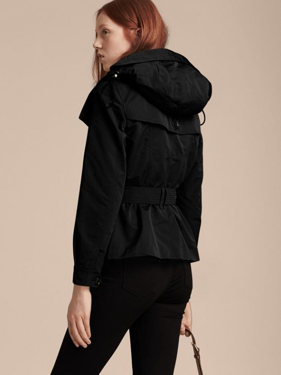 Showerproof Taffeta Trench Jacket with Detachable Hood in Black - cell image 2