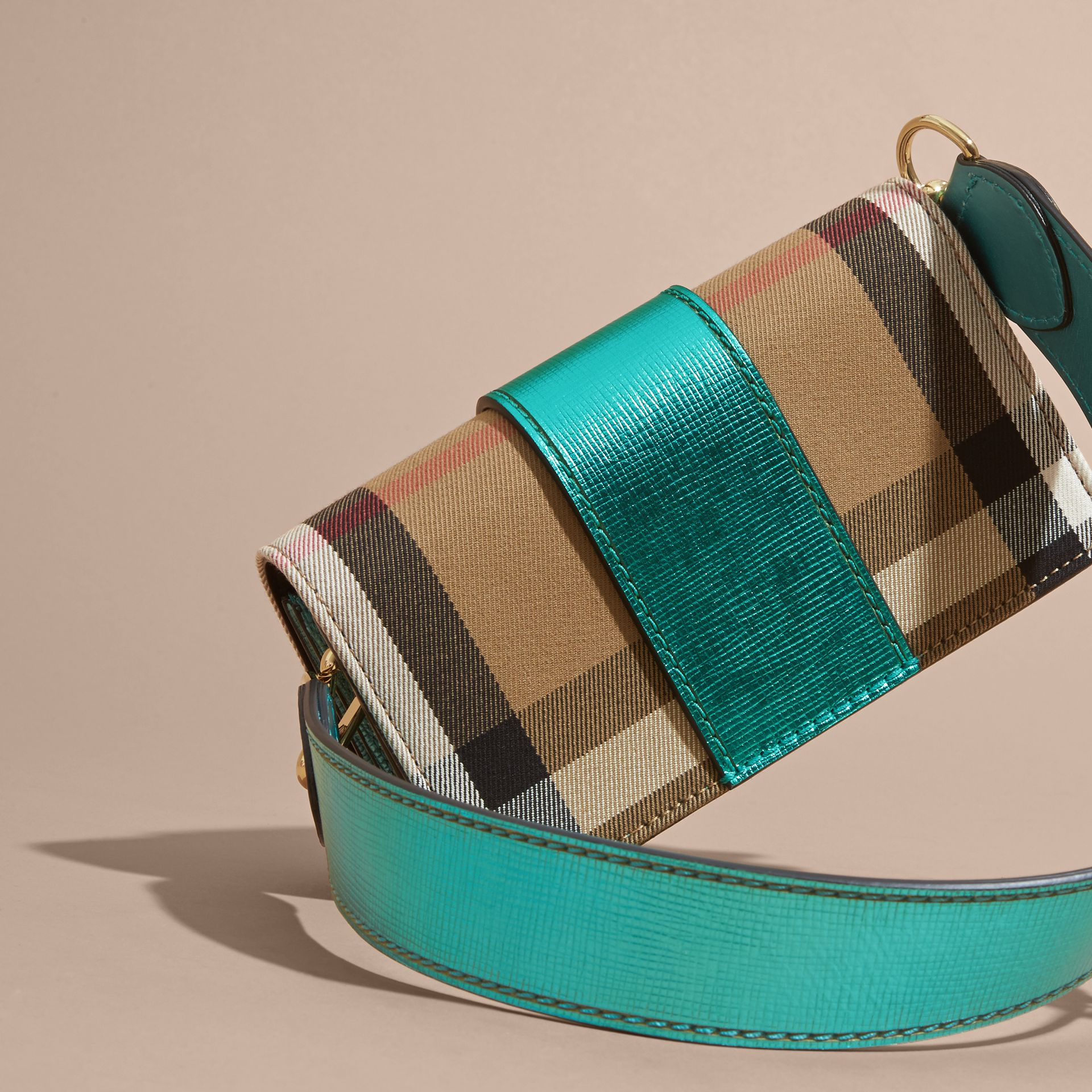 The Small Buckle Bag in House Check and Leather Emerald - gallery image 5