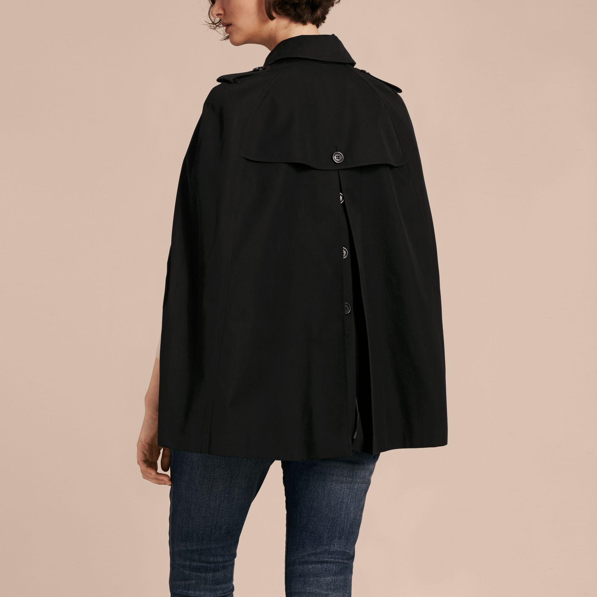 Black Cotton Gabardine Trench Cape - gallery image 3