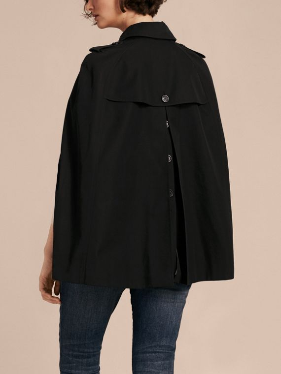 Black Cotton Gabardine Trench Cape - cell image 2