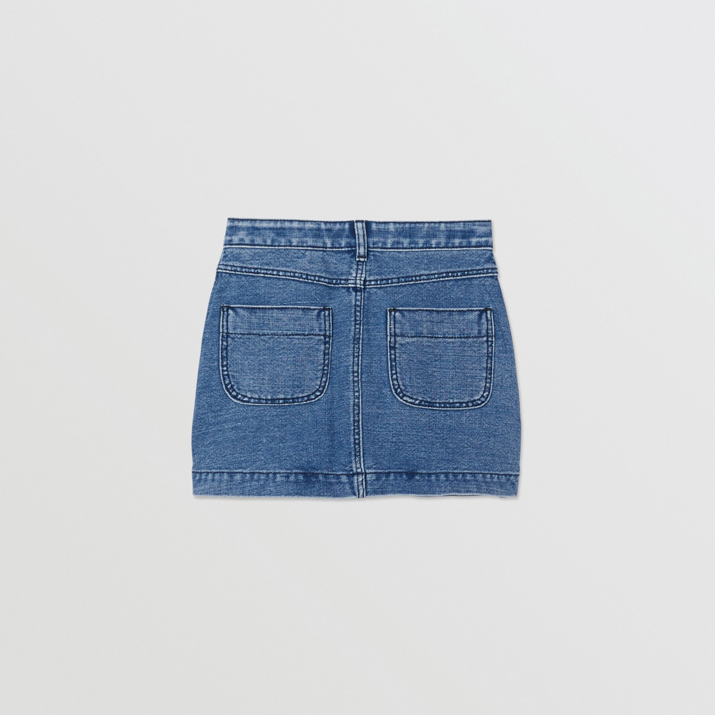 Logo Print Japanese Denim Skirt in Indigo - Girl | Burberry - 4