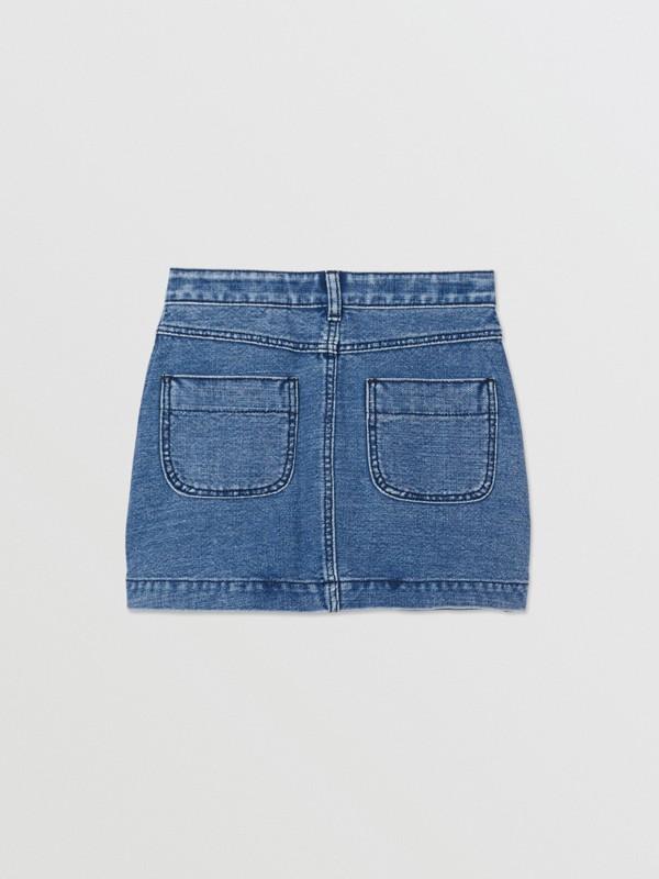 Saia de tecido jeans japonês com estampa de logotipo (Índigo) | Burberry - cell image 3