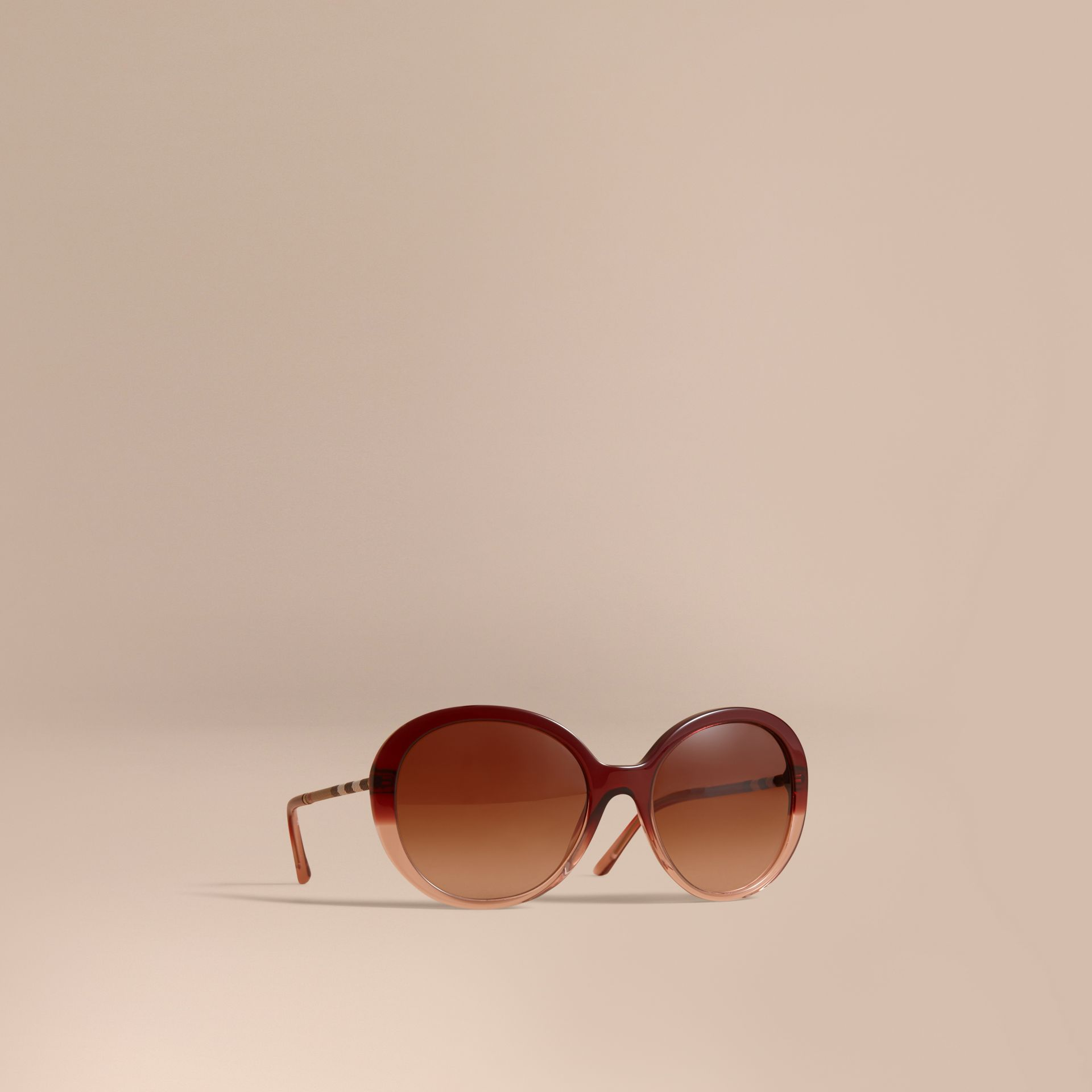 Check Detail Round Frame Sunglasses Oxblood - gallery image 1