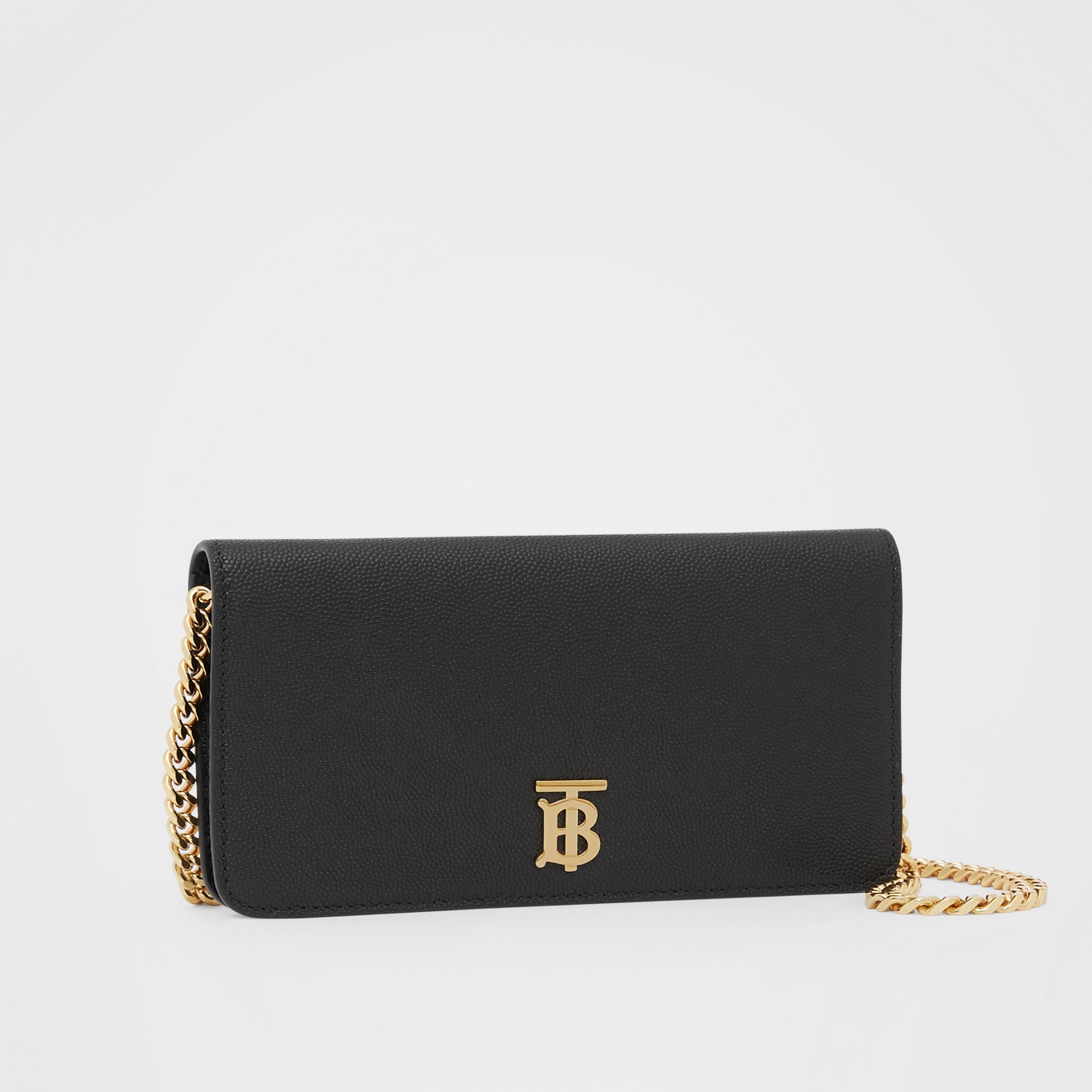 Grainy Leather Phone Wallet with Strap in Black - Women | Burberry - gallery image 4