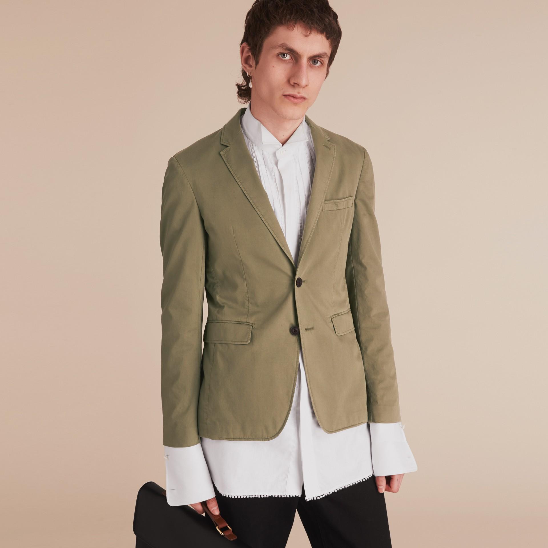 Slim Fit Stretch-cotton Blazer Khaki Green - gallery image 8