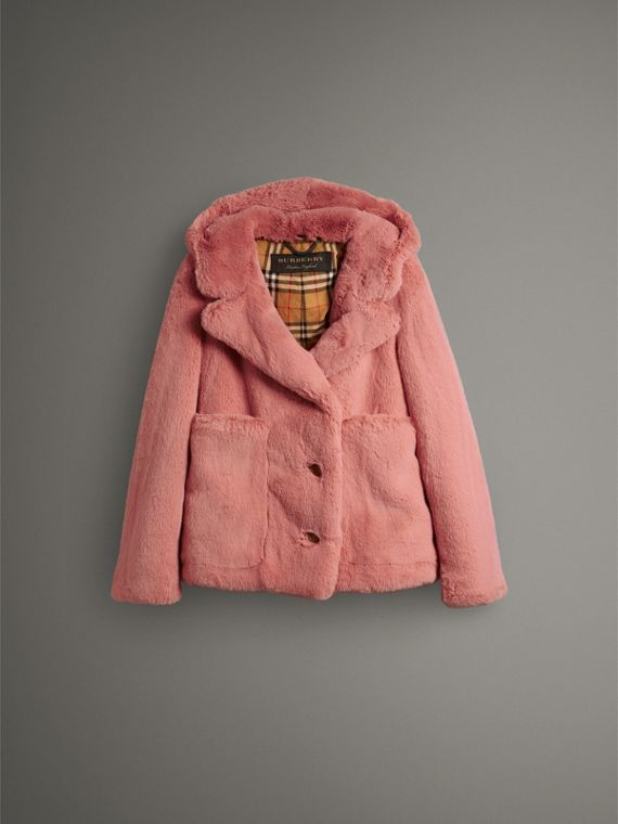Faux Fur Hooded Jacket in Pale Pink - Women | Burberry Singapore - cell image 3
