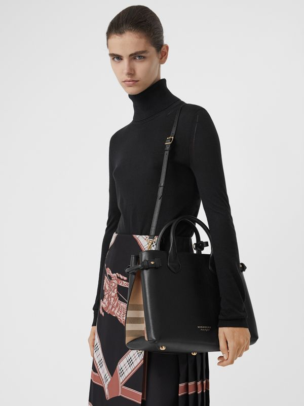 Sac The Banner moyen en cuir et coton House check (Noir) - Femme | Burberry - cell image 3