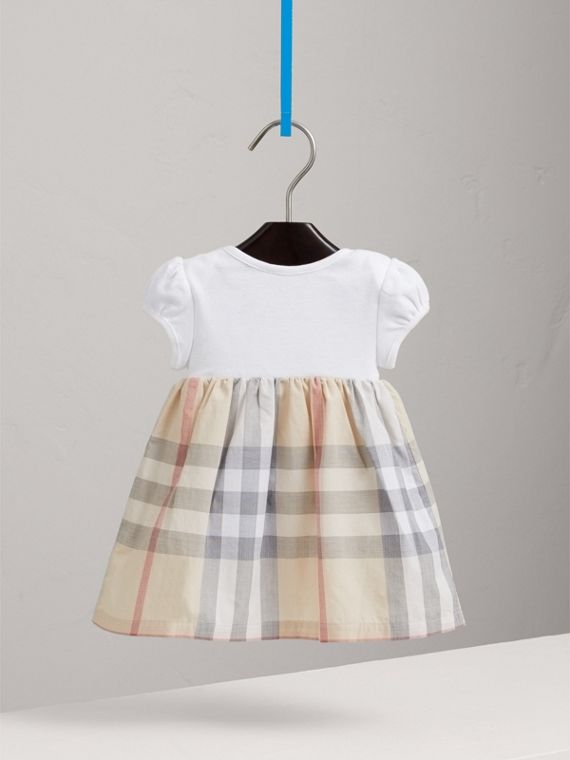 Check Detail Cotton Dress in Pale Classic - Girl | Burberry Canada - cell image 3