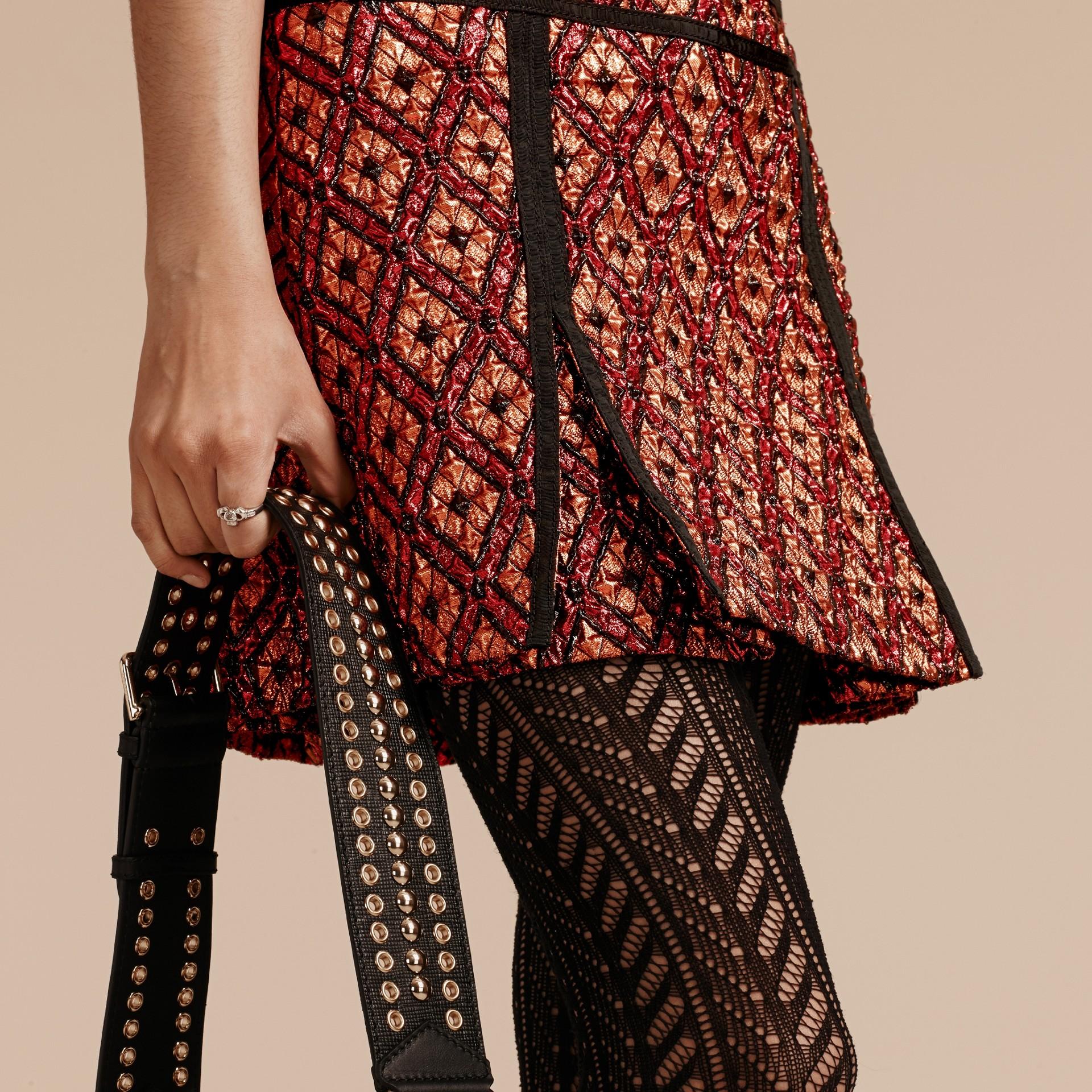 Cinnamon red Diamond Jacquard Sleeveless Dress - gallery image 5