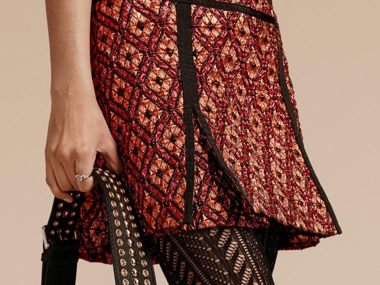 Cinnamon red Diamond Jacquard Sleeveless Dress - cell image 4