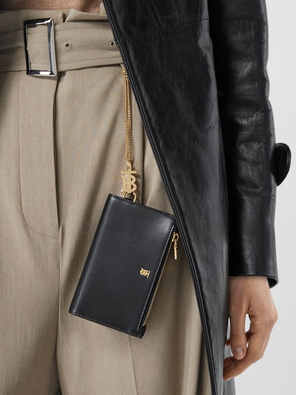 Monogram Motif Leather Wallet with Detachable Strap in Black - Women | Burberry - cell image 2