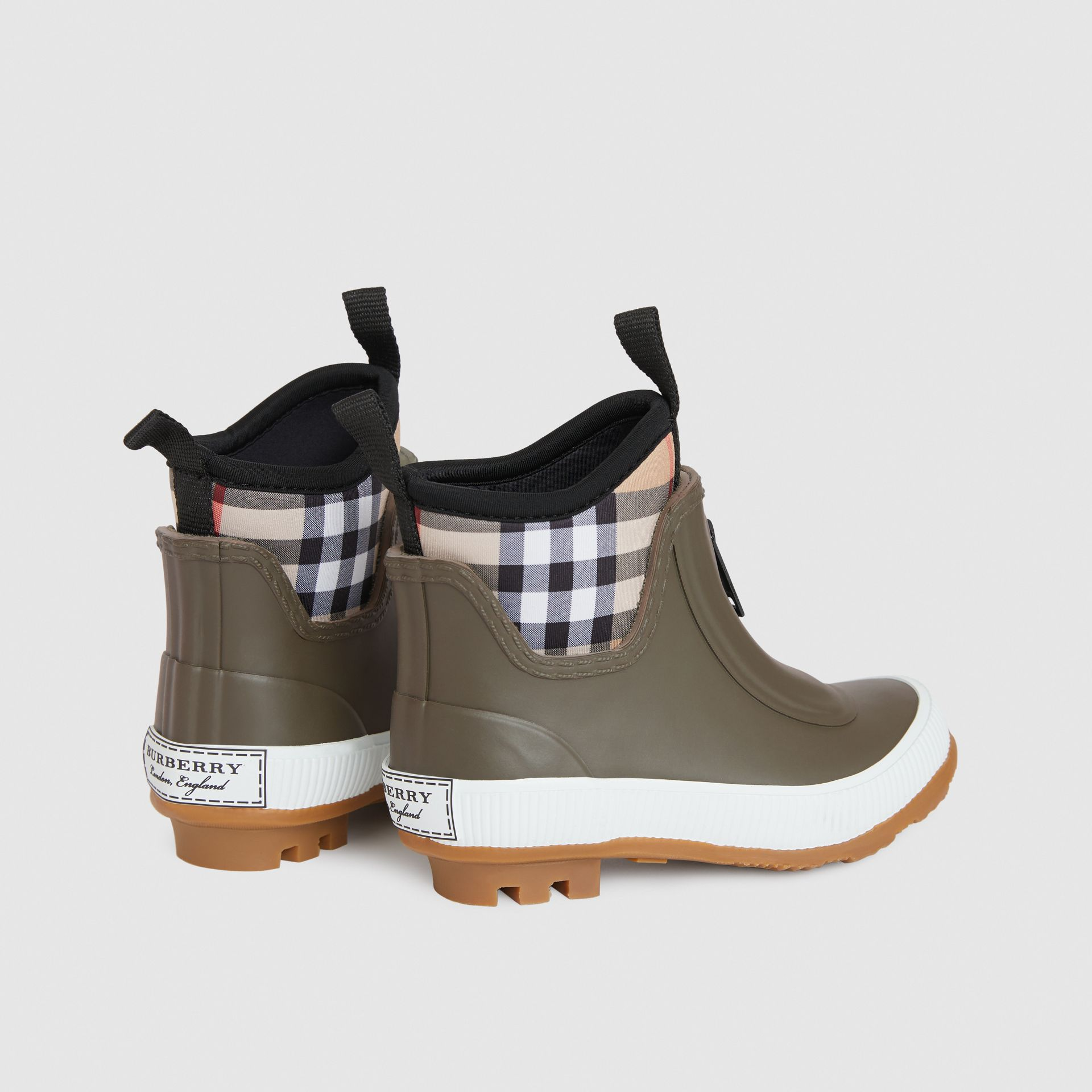 Vintage Check Neoprene and Rubber Rain Boots in Military Green - Children | Burberry Australia - gallery image 2