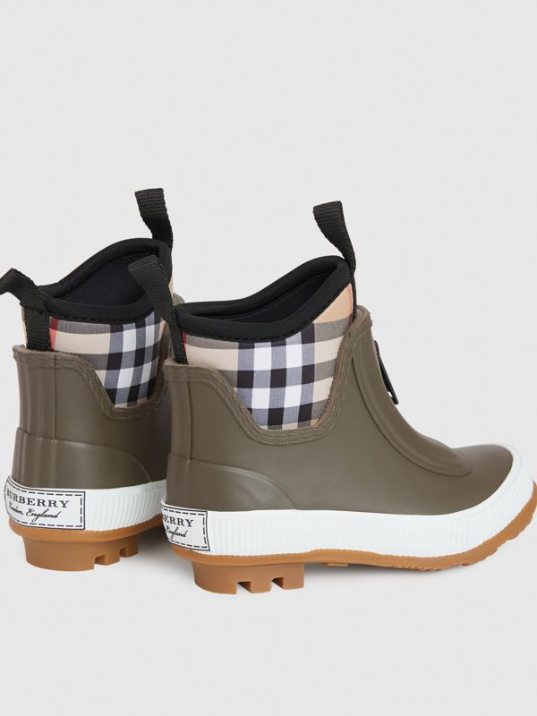 Vintage Check Neoprene and Rubber Rain Boots in Military Green - Children | Burberry - cell image 2