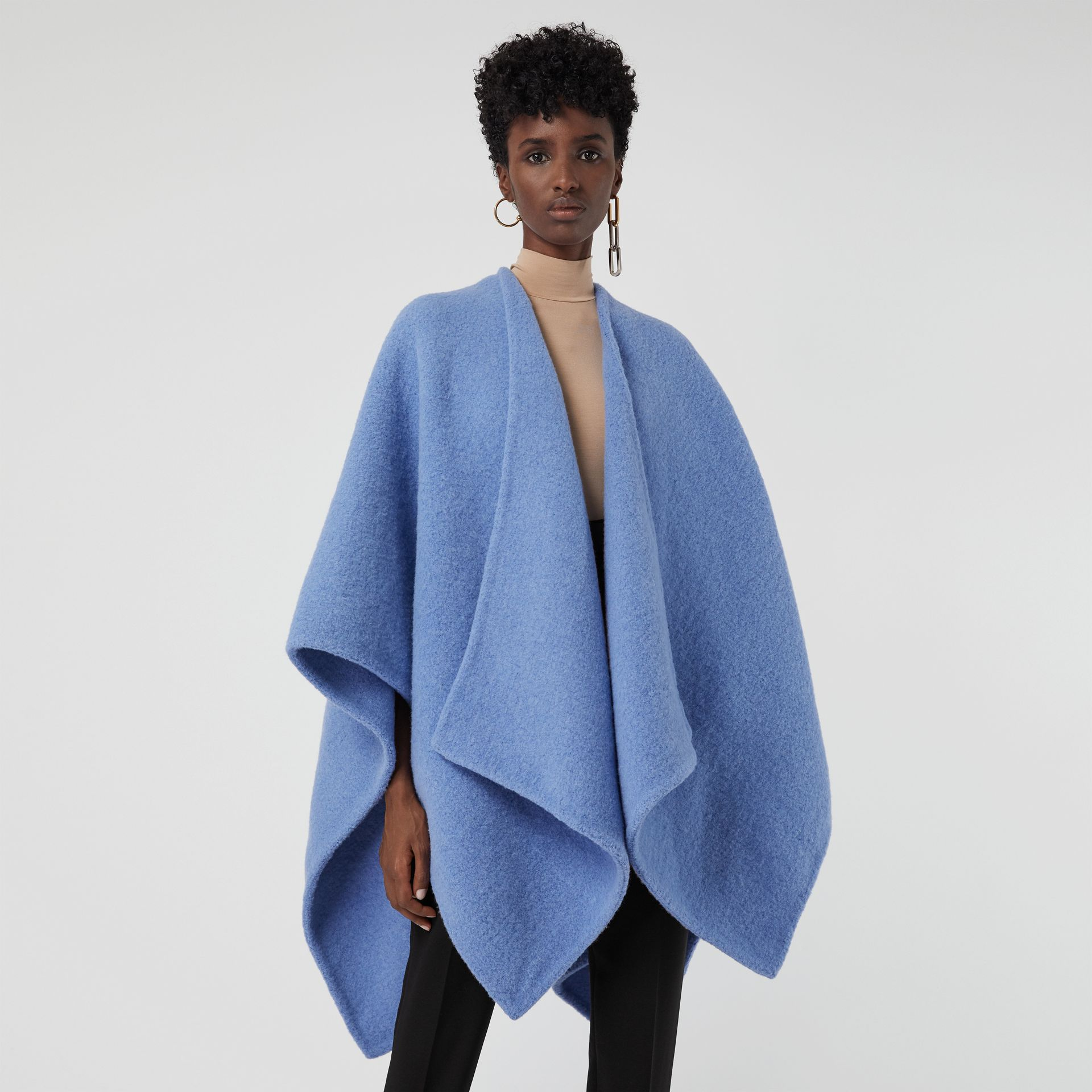 Embroidered Skyline Wool Alpaca Blend Poncho in Hydrangea Blue - Women | Burberry Australia - gallery image 4