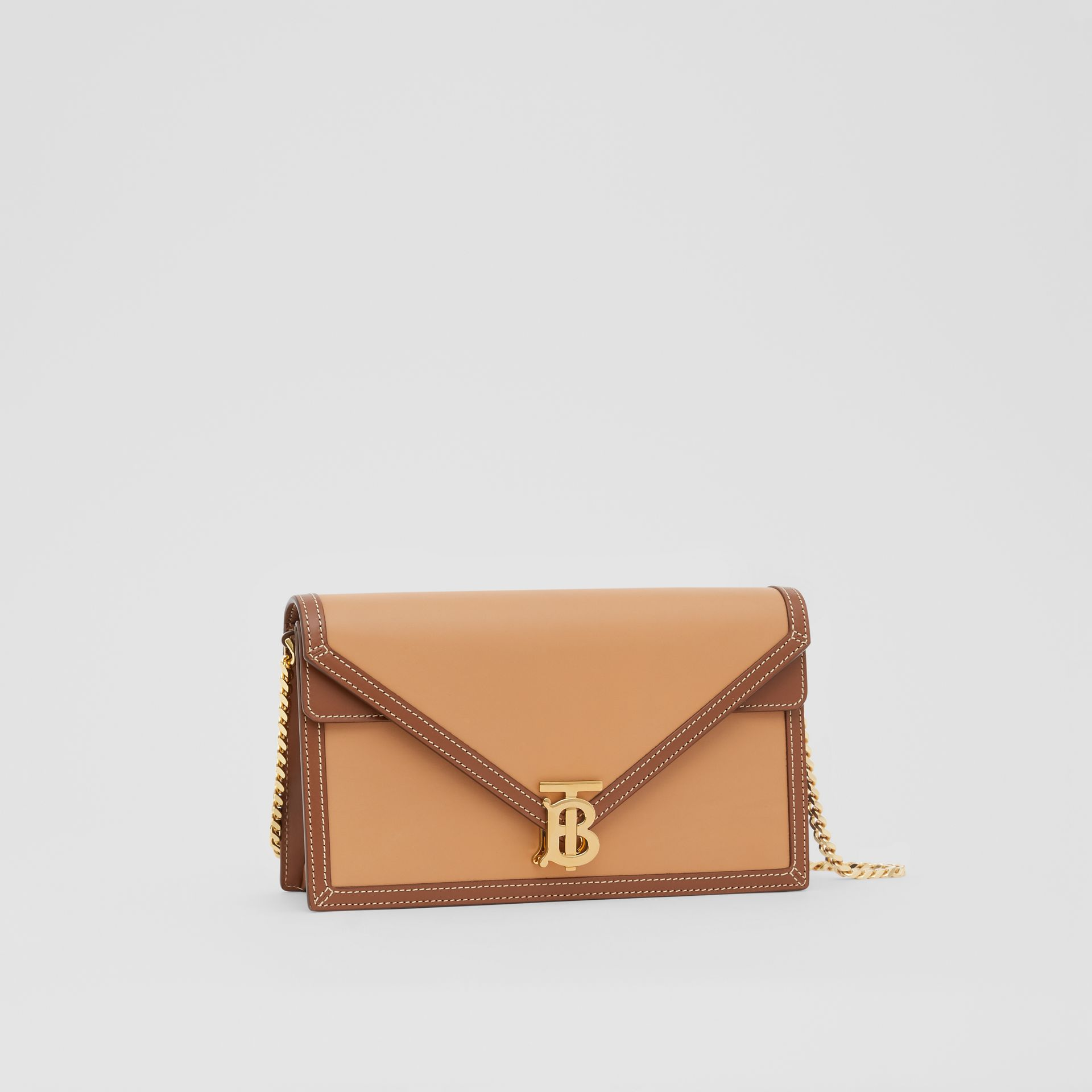 Small Two-tone Leather TB Envelope Clutch in Malt Brown - Women | Burberry - gallery image 5