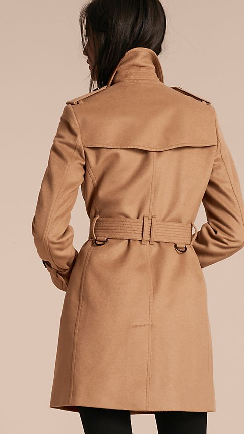 Camel Wool Cashmere Trench Coat - Image 3