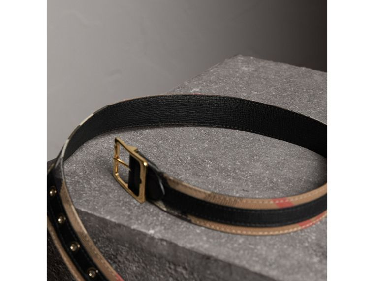 Reversible House Check and Grainy Leather Belt in Camel/black - Women | Burberry United Kingdom - cell image 4