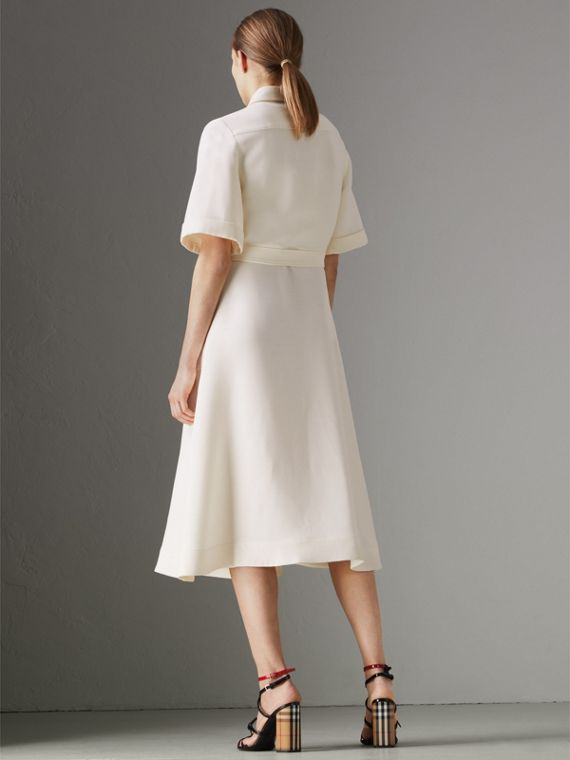 Short-sleeve Wool Silk Shirt Dress in Off White - Women | Burberry Singapore - cell image 2