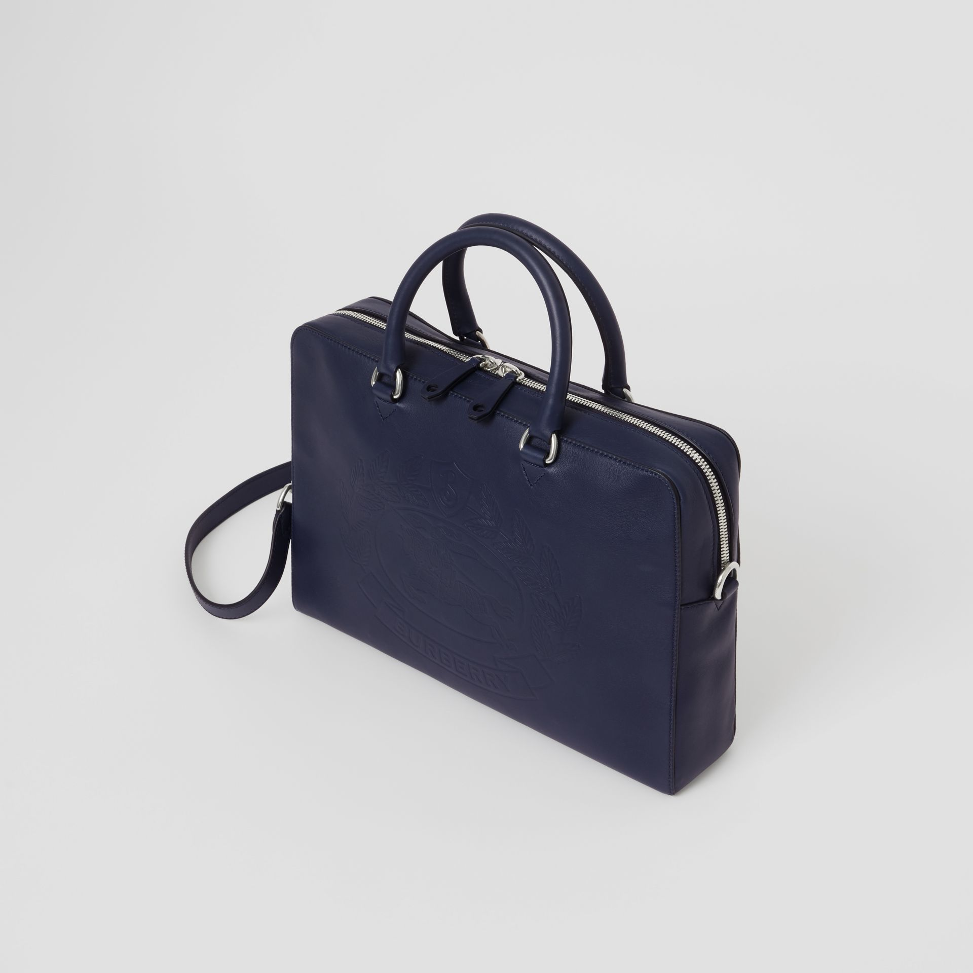 Attaché-case en cuir avec écusson estampé (Bleu Régence) - Homme | Burberry - photo de la galerie 4