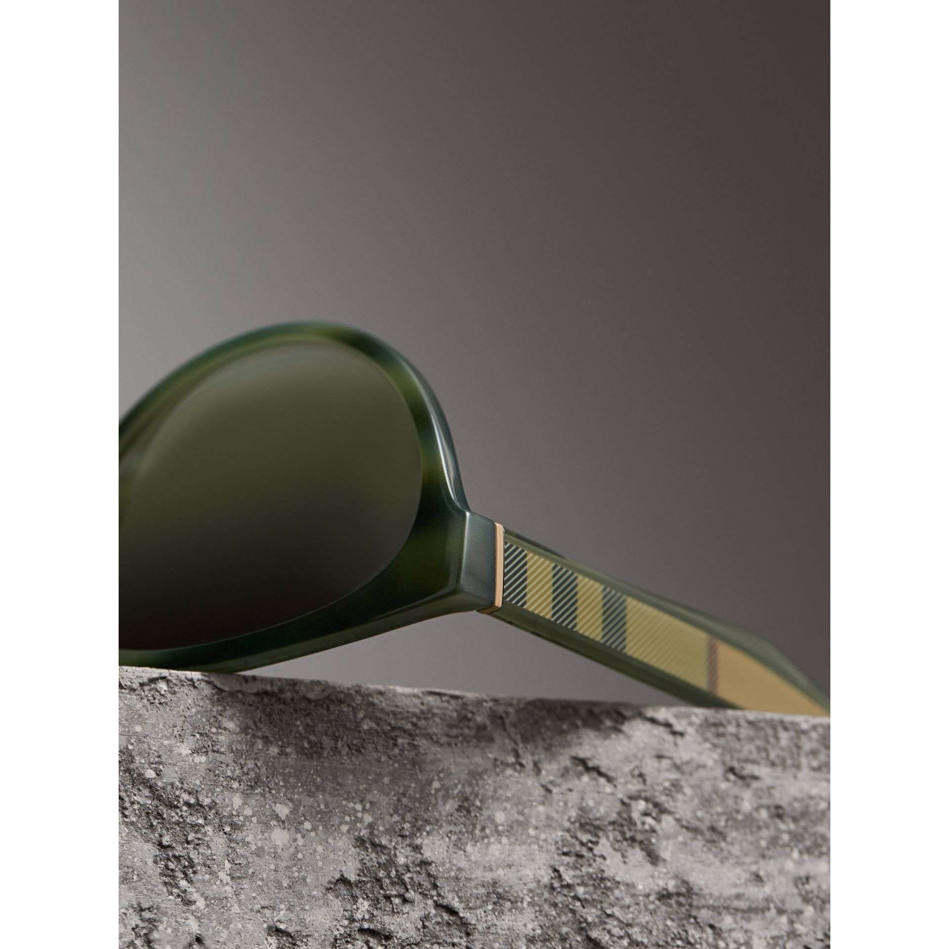 Check Detail Cat-eye Frame Sunglasses in Dark Olive - Women | Burberry Singapore - gallery image 2