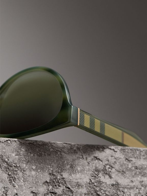Check Detail Cat-eye Frame Sunglasses in Dark Olive - Women | Burberry United Kingdom - cell image 1