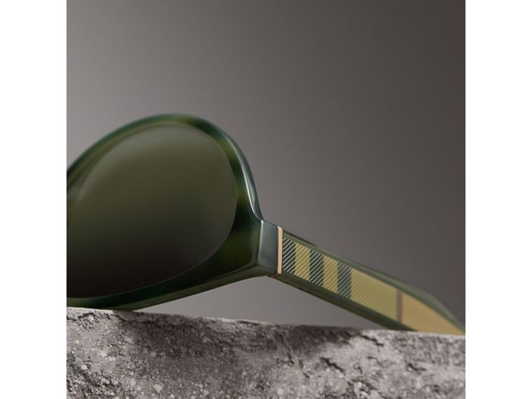 Check Detail Cat-eye Frame Sunglasses in Dark Olive - Women | Burberry - cell image 1