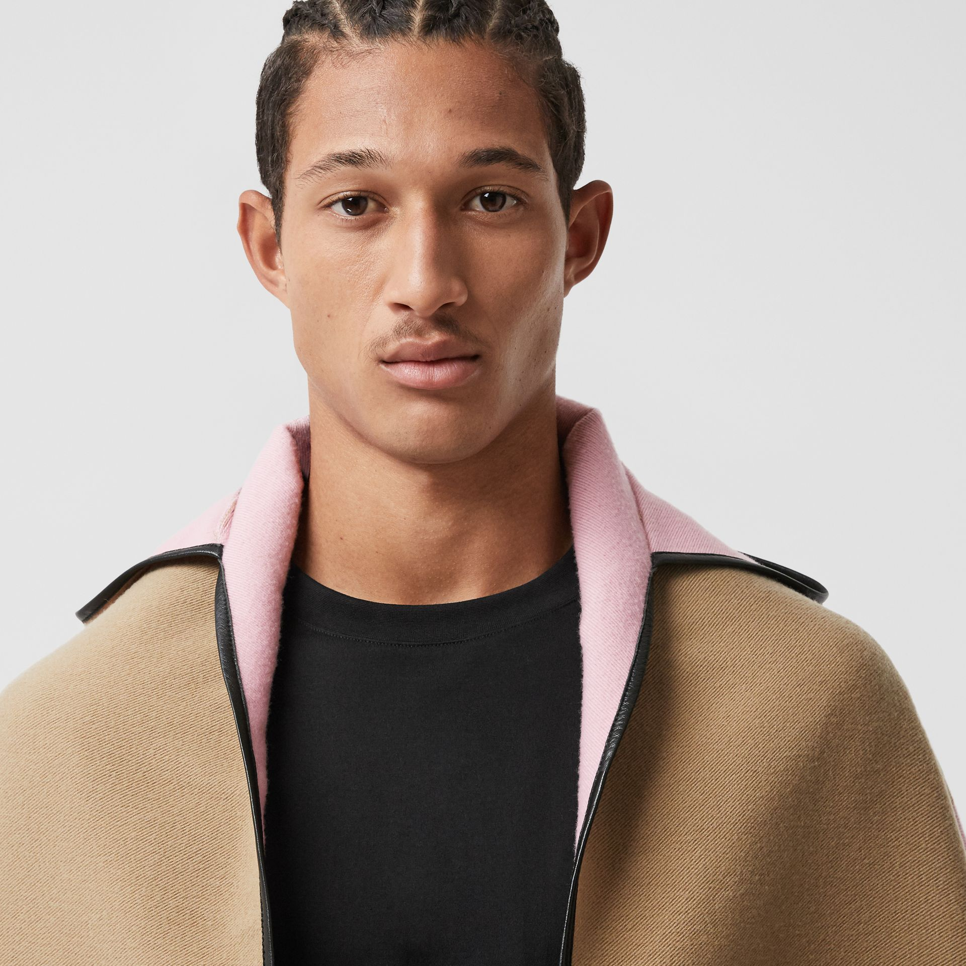 Logo Graphic Wool Cotton Jacquard Hooded Cape in Archive Beige | Burberry - gallery image 1
