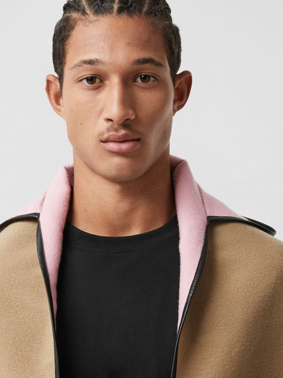 Logo Graphic Wool Cotton Jacquard Hooded Cape in Archive Beige | Burberry - cell image 1