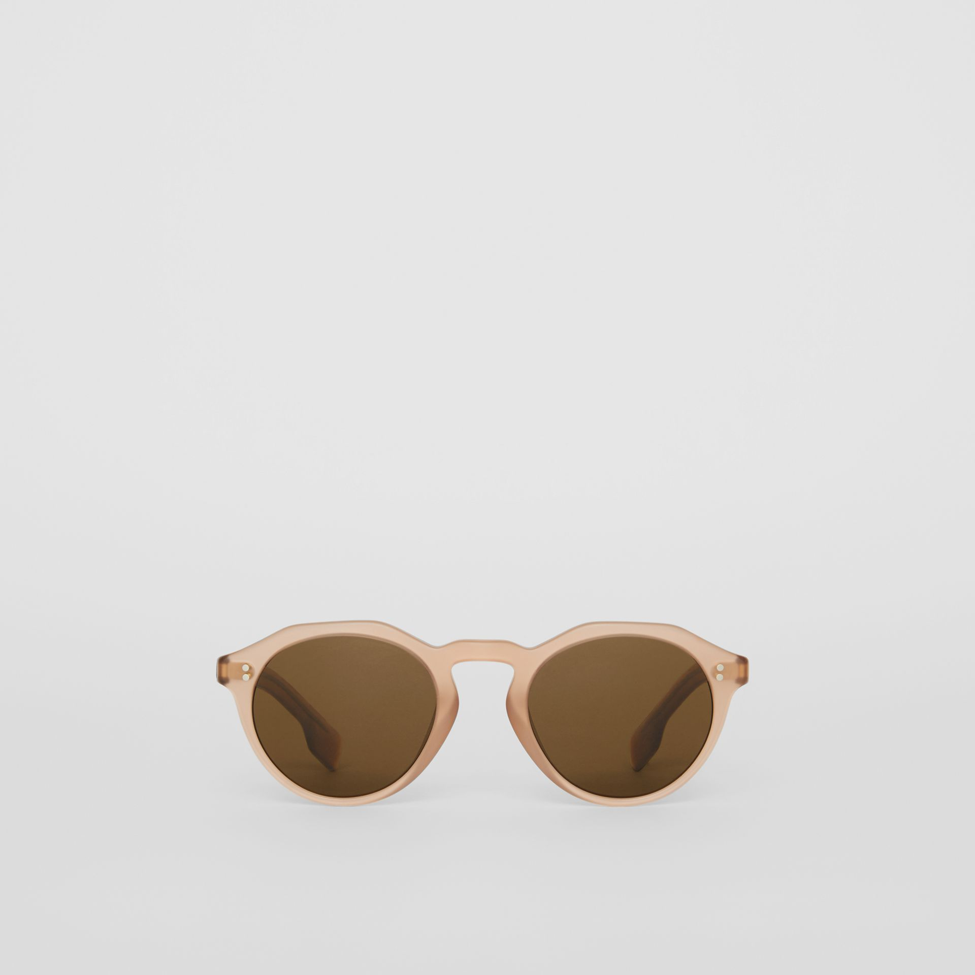 Keyhole Round Frame Sunglasses in Brown - Men | Burberry - gallery image 0