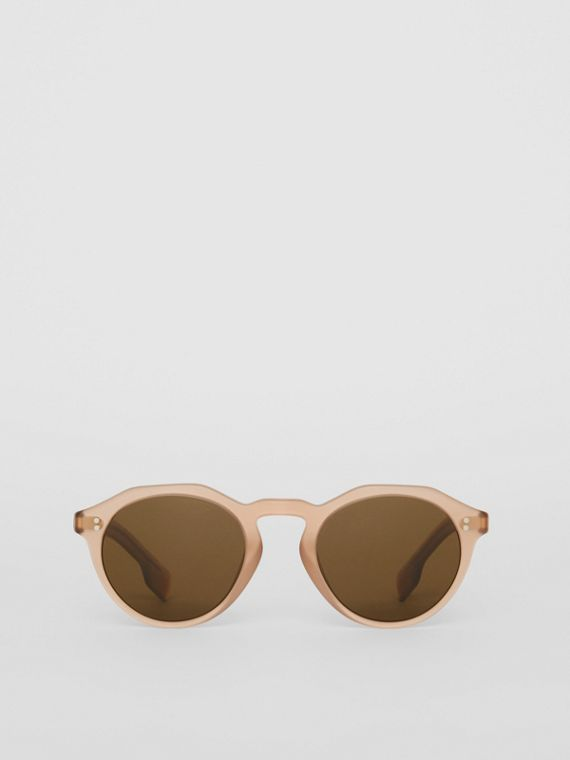 Keyhole Round Frame Sunglasses in Brown