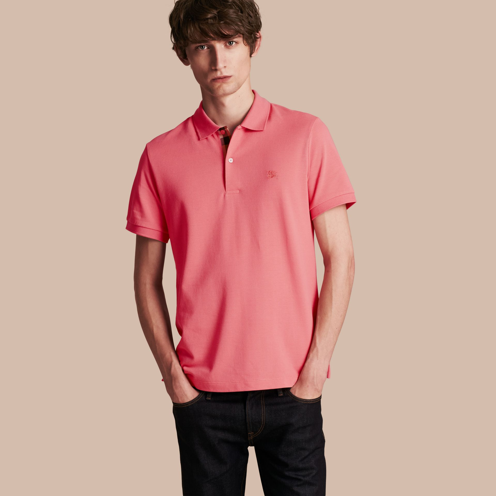 Check Placket Cotton Piqué Polo Shirt Rose Pink - gallery image 1