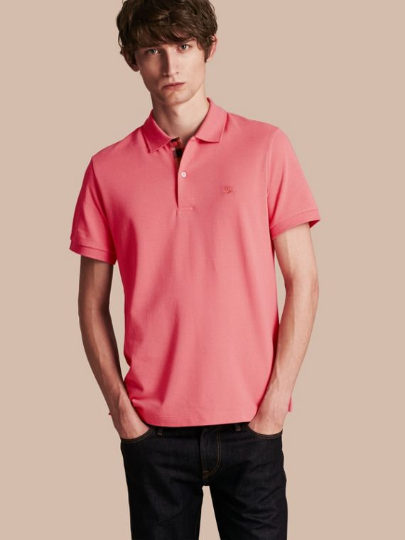 Check Placket Cotton Piqué Polo Shirt in Rose Pink - Men | Burberry