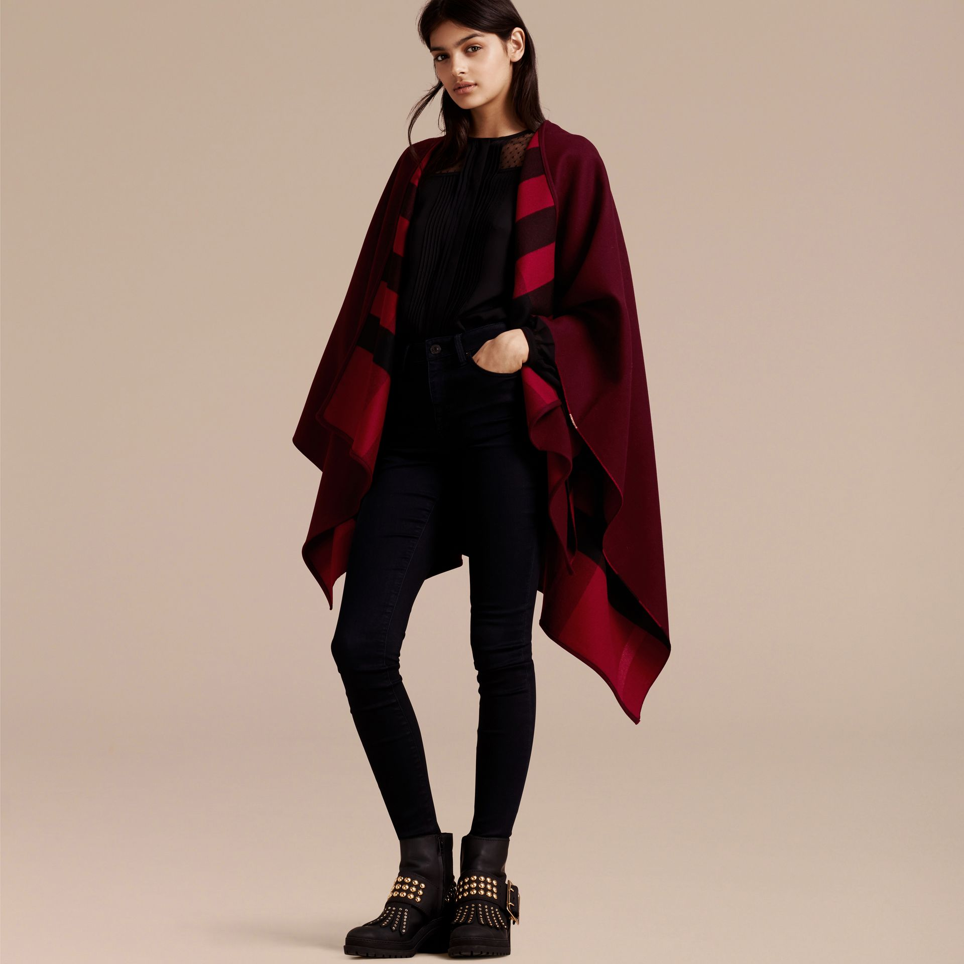 Reversible Check Merino Wool Poncho in Parade Red - gallery image 7