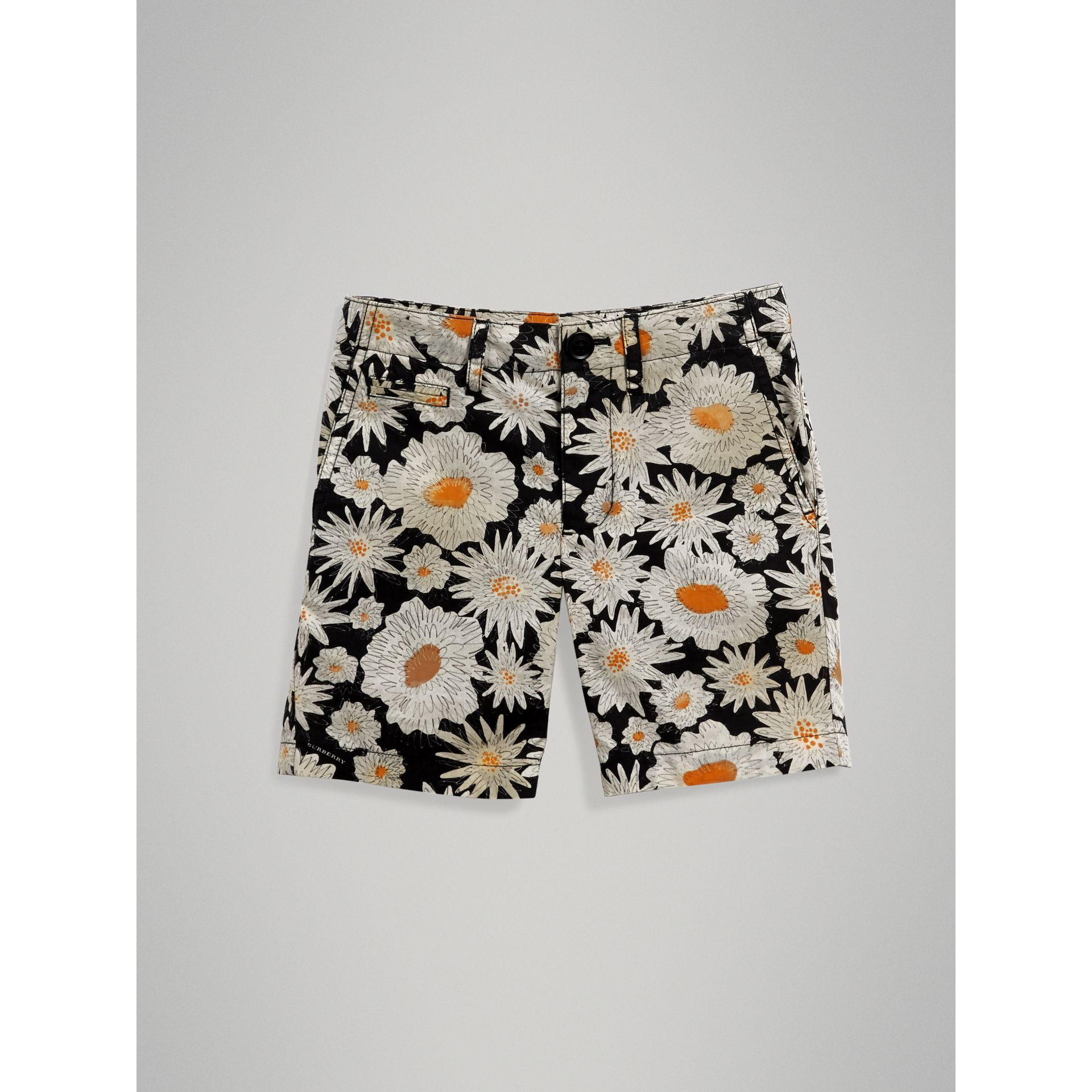 Daisy Print Cotton Chino Shorts in Black - Boy | Burberry United Kingdom - gallery image 2
