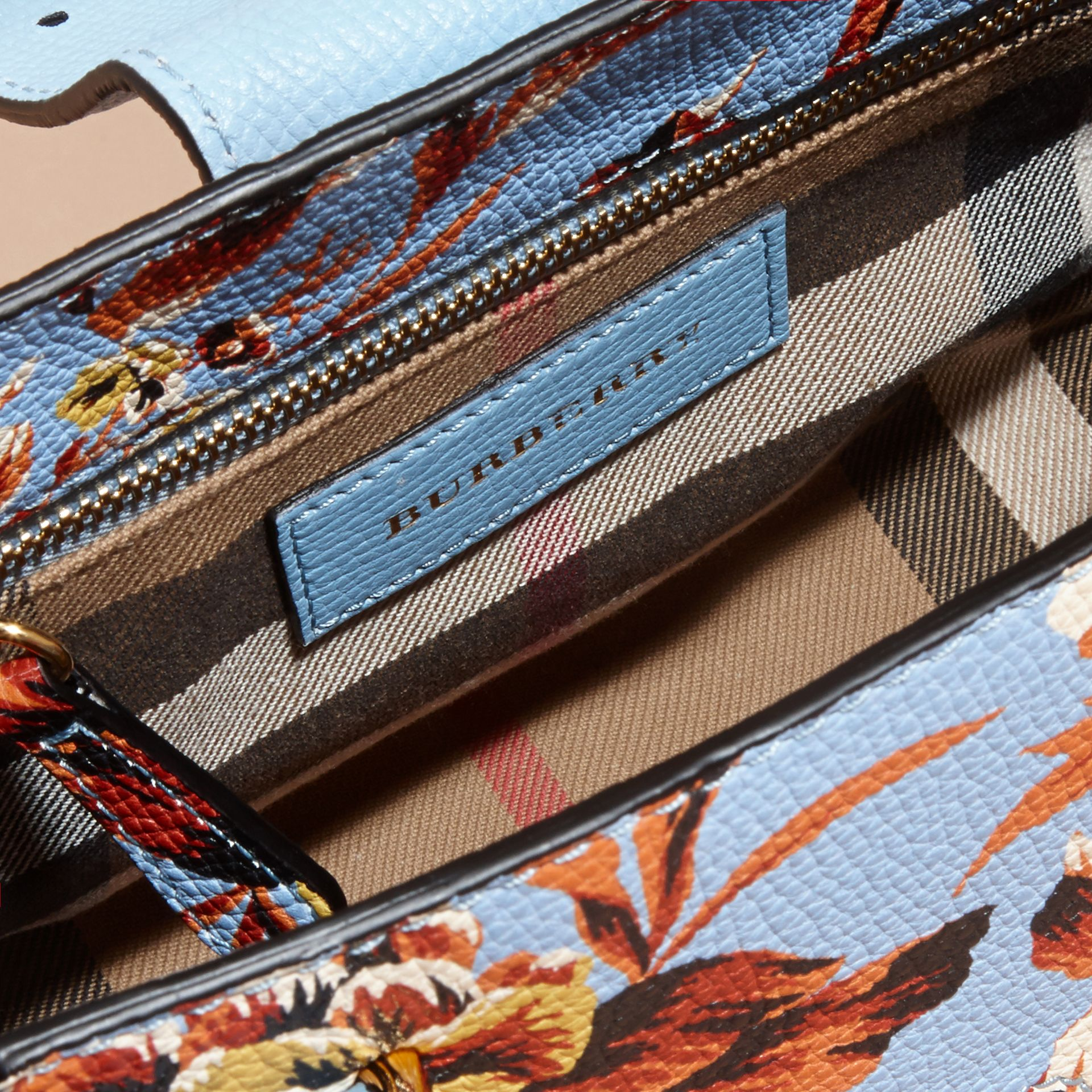 Pale blue/vibrant orange The Small Buckle Tote in Peony Rose Print Leather Pale Blue/vibrant Orange - gallery image 6